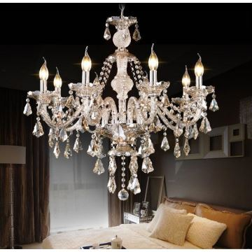 Chandelier cognac color crystal modern 8 lights living room bedroom dining room lighting ideas kitchen lighting ideas ceiling lightsdance of romance
