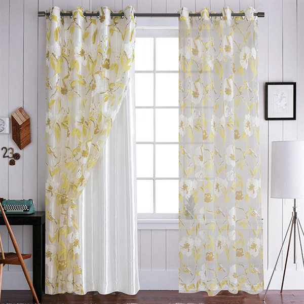 Yellow flower sheer curtains customize sheer curtains mightylinksfo