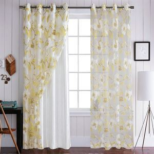 Yellow Flower Sheer Curtains Customize Sheer Curtains
