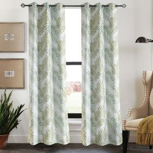 Tropical Green Leaves Blackout Curtains Customize Curtains