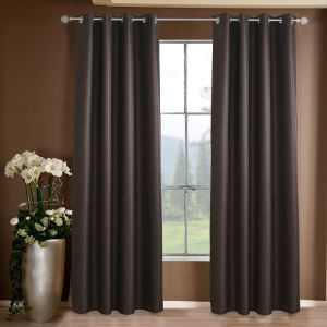 Dark Coffee Weaving Texture Blackout Polyester Ramie Curtains Customize Curtains