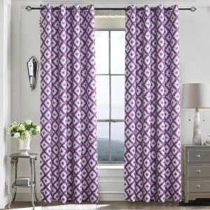 Purple Rhombus Geometry Blackout Curtains Customize Curtains