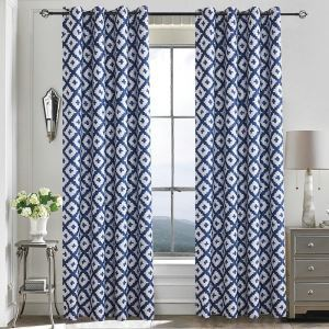 Blue Rhombus Geometry Blackout Curtains Customize Curtains