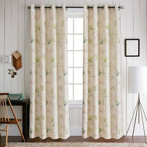 Green Flowers and Birds Polyester Ramie Curtains Customize Curtains