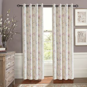 Pink Flowers and Birds Polyester Ramie Curtains Customize Curtains