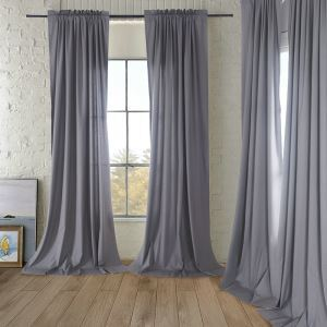 Natural Cotton and Linen Gray Medium Thick Curtains Customize Curtains