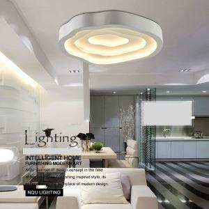 (EU Stock) Modern Simple Fashion LED Metal White Flush Mount Light Living Room Bedroom Study Room Dining Room Energy Saving Warm White(Sunshine In My Sky)