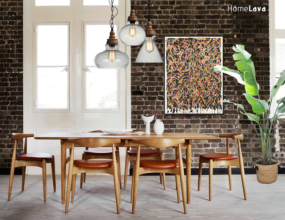 Unique industrial style dining room