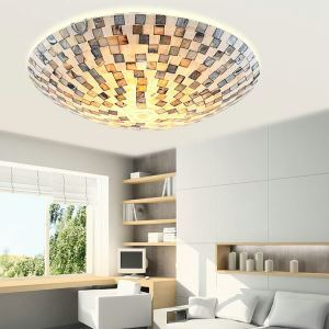 (In Stock)Shell Block Tiffany Flush Mount Ceiling Light
