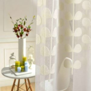 (One Panel)Country Pastoral Sheer Curtain Advanced Customization Embroidery Pattern