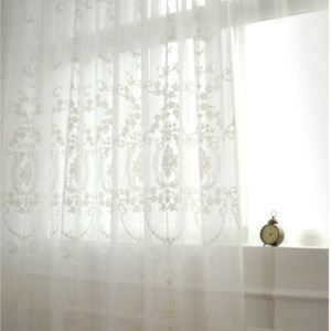( One Panel )European Sheer Curtains Advanced Customization Classical Embroidery Pattern