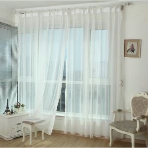 ( One Panel )Modern White Sheer Curtains Advanced Customization
