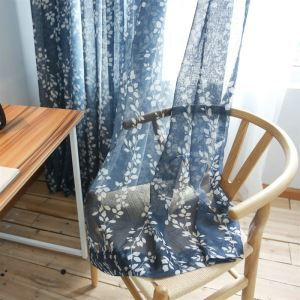 ( One Panel )American Pastoral Sheer Curtains Advanced Customization Printing Pattern