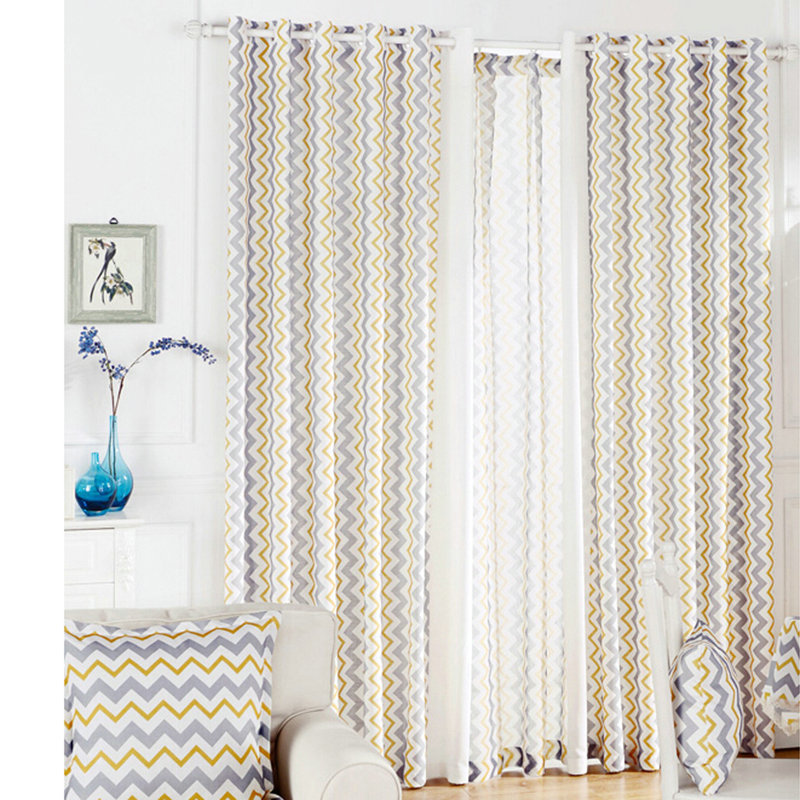 One Panel Nordic Style Wavy Pattern Curtains Advanced