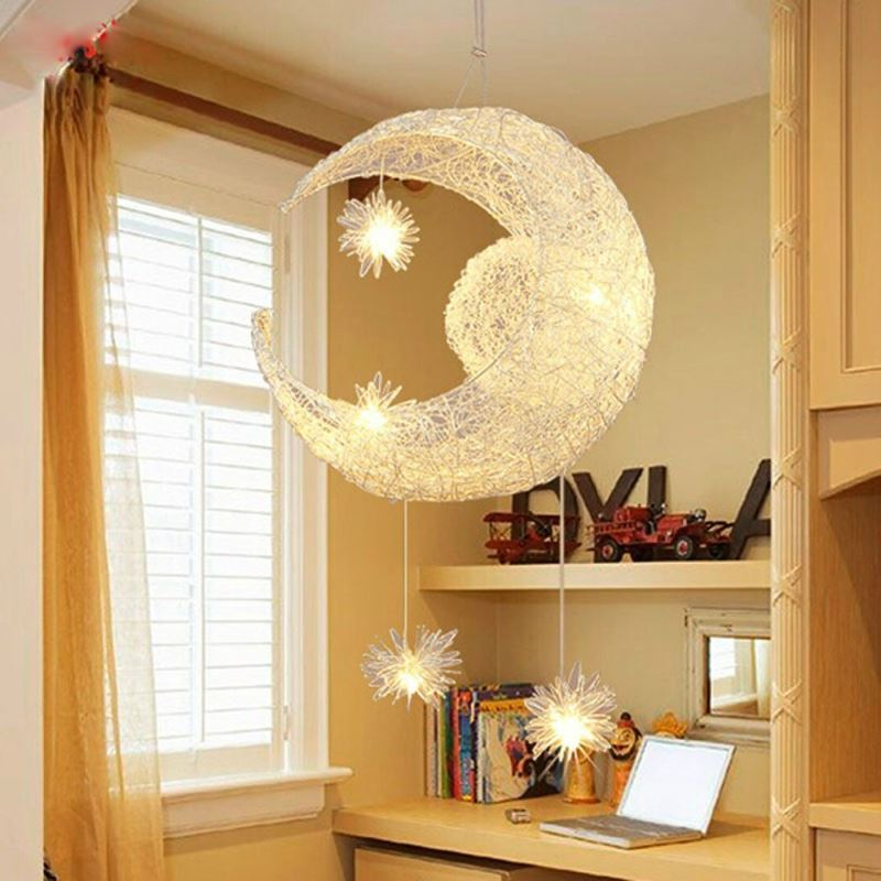 moon star ceiling light hanging lights for bedroom kids room with 5 lights. Black Bedroom Furniture Sets. Home Design Ideas