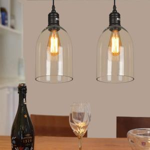 Glass Pendant Lights Dome Shape Clear Glass LOFT Mini Dining Table Lighting