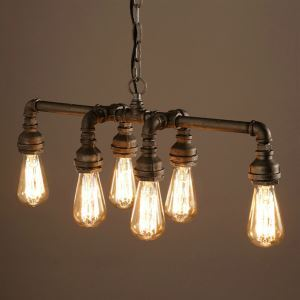 (In Stock)Ceiling Lights Edison Retro Loft Style Vintage Industrial Pendant Light Lamp Metal Water PipeLuminaire Lampara Colgantes(Love In Destiny)
