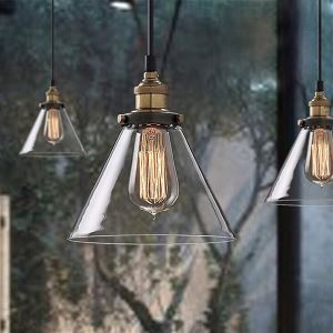 (In Stock) Ceiling Lights Retro Simple Clear Glass Pendant Dining Room Lighting Ideas Living Room Bedroom Lighting(Salty Coffee)