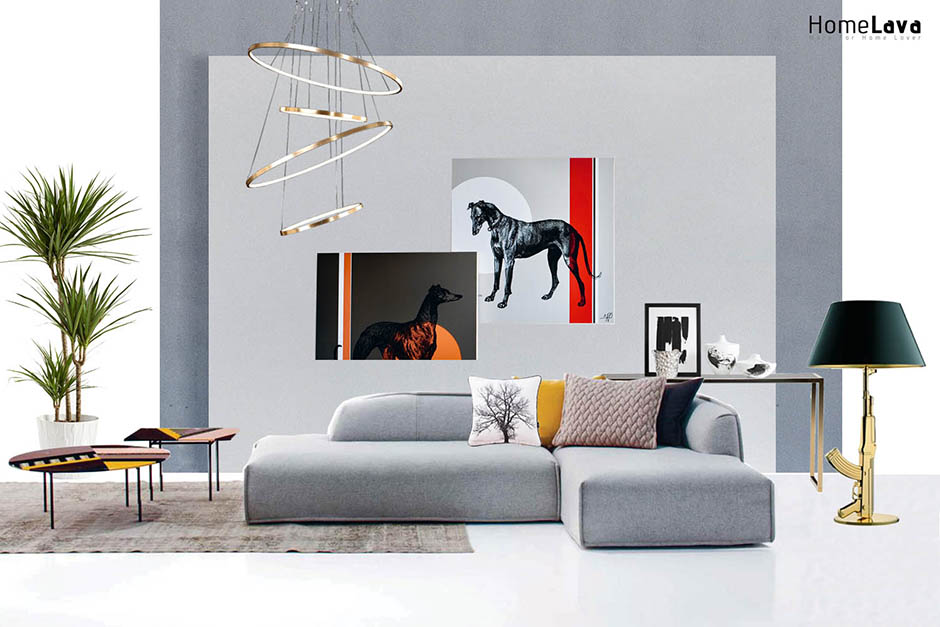 Modern living room with gray wall