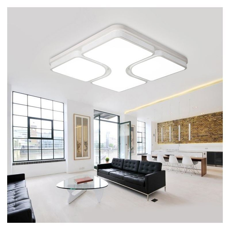 In Stock Modern Simple Fashion LED Dimmable Acrylic Square Flush Mount Light Living Room