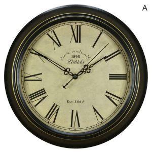 Vintage European Metal Round Rustic Mute Wall Clock