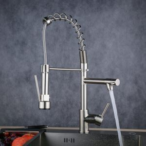 Modern Single Handle Nickel Brushed Spring Faucet LED Kitchen Faucet Tap
