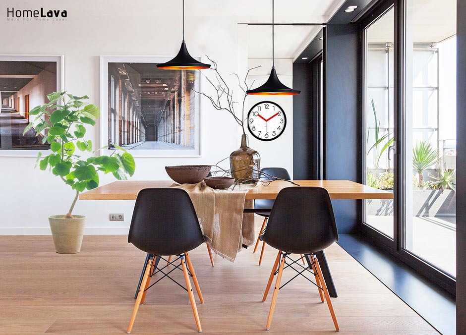 A masculine minimalist apartment diningroom