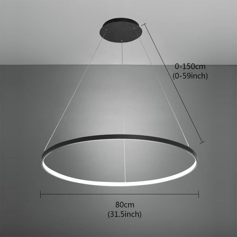 Led pendant light nordic modern ring black bedroom dinging for Lustre moderne design contemporain