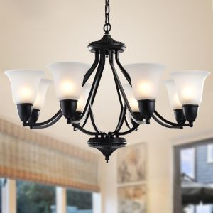 8 Light 31 inch Ceiling Light Fixture, Black