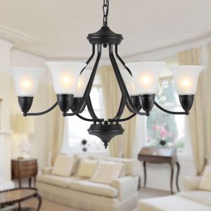 6 Light 31 inch Ceiling Light Fixture, Black