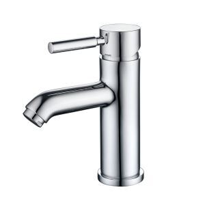 Modern Simple Style Chrome Basin Faucet Hot and Cold Switch Single Hole Single Handle