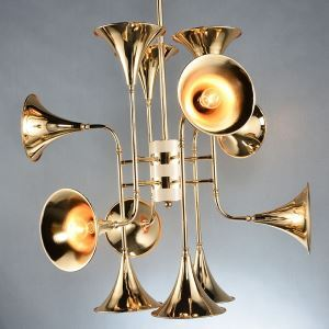Nordic Creative Horn Modeling Modern Simple Golden Iron Living Room Dining Room Lighting 12 Lights