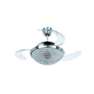 Modern Simple Style Ceiling Fan Light Exquisite Small Crystal Dome LED Light Source Chrome Plating Craft Bedroom Living Room Kitchen Lighting