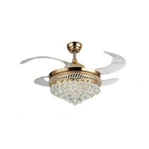 Ceiling Fan Light Fan Stretch Out and Draw Back with Remote Control Crystal LED Fan Light