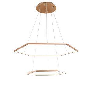 Nordic Modern LED Light Gold Hexagon Restaurant Bar Light Simple Creative Pendant Light 2 Lights