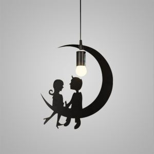 Nordic Retro Iron Craft Pendant Light Couple Under Moon Cafe Dining Room Bedroom Lighting Single Light
