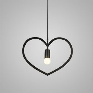 Nordic Retro Iron Craft Pendant Light Heart-shaped Cafe Dining Room Bedroom Lighting Single Light