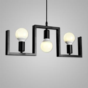 Nordic Retro Creative Geometric Iron Pendant Light Cafe Restaurant Bar Lighting 3 Lights