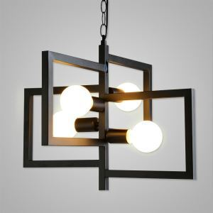 Nordic Retro Creative Geometric Iron Pendant Light Craft Cafe Restaurant Bar Lighting 4 Lights