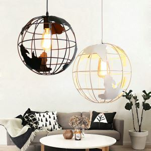 American Rural Style Pendant Light Hollow Globe Modeling Living Room Dining Room Bar Light Black White 2 Options(20*20cm)