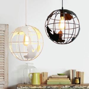 American Rural Style Pendant Light Hollow Globe Modeling Living Room Dining Room Bar Light Black White 2 Options