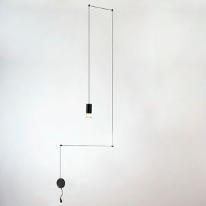 Nordic Modern Creative Lines LED Pendant Light Exhibition Hall Cafe Staircase Single Light Black