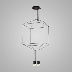 Nordic Modern Creative Lines LED Pendant Light Exhibition Hall Cafe Staircase 4 Lights Black