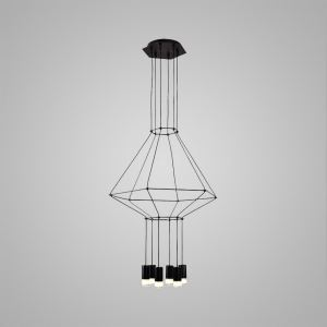 Nordic Modern Creative Lines LED Pendant Light Exhibition Hall Cafe Staircase 6 Lights Black
