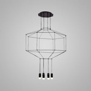Nordic Modern Creative Lines LED Pendant Light Exhibition Hall Cafe Staircase 8 Lights Black