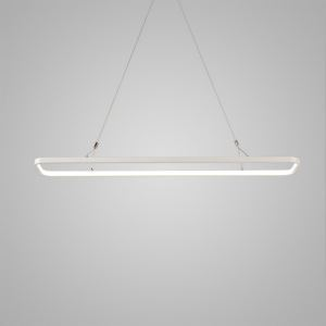 Nordic Modern LED Pendant Light White Rounded Rectangle Model Office Cafe Bar Light Inside Edge Glowing