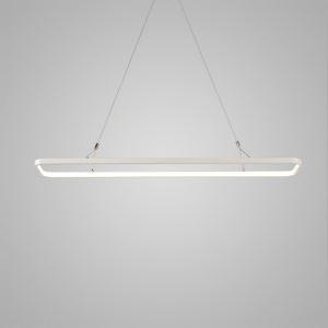 Nordic Modern LED Pendant Light White Rounded Rectangle Model Office Cafe Bar Light Inside Edge Glowing