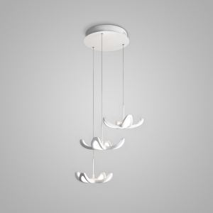 Nordic Modern Creative Simple Flower Design LED Pendant Light White Bedroom Living Room Dining Room Lighting 3 Lights