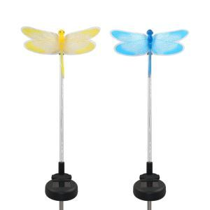 2 pcs LED Solar Fiber Optic Color-Changing Garden Stake Light-Dragonfly Outdoor Decoration Light