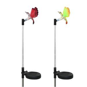 2 pcs LED Solar Fiber Optic Color-Changing Garden Stake Light-Hummingbird Outdoor Decoration Light